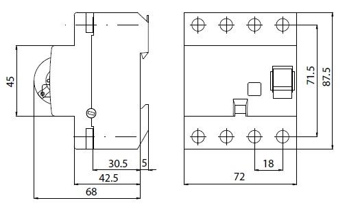 Wyłącznik rożnicowoprądowy EFI-4 40/0,03 AC ( P 304 ) schemat