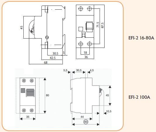 Wyłącznik rożnicowoprądowy EFI-2 40/0,03 AC ( P 302 ) schemat