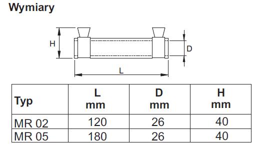 dokładne wymiary MR 05 i MR 05 (Mufa żywiczna przelotowa MR 05 - CELLPACK)