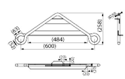 ENSTO SOT73.1 Poprzecznik dla 2 uchwytów przelotowych, hak L= 310 mm (UN-N)